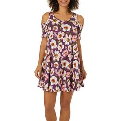 Lexington Avenue Womens Floral Garden Cold Shoulder Dress