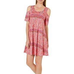 Lexington Avenue Womens Paisley Cold Shoulder Swing Dress