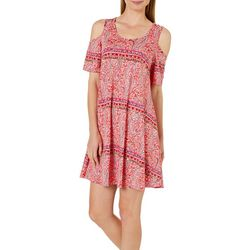 Lexington Avenue Womens Paisley Cold Shoulder Swing Dress