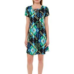 Lexington Avenue Womens Geometric Print Lattice Neck Dress