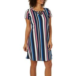 Lexington Avenue Womens Striped Lattice Neck Dress