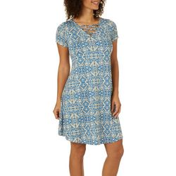 Lexington Avenue Womens Damask Print Lattice Neck Dress