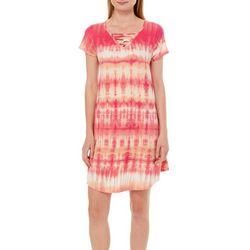 Lexington Avenue Womens Tie Dye Print Lattice Neck Dress