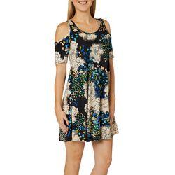 Lexington Avenue Womens Graphic Dots Cold Shoulder Dress