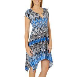 Lexington Avenue Womens Diamond Keyhole Sharkbite Hem Dress