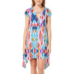 Lexington Avenue Womens Abstract Keyhole Sharkbite Hem Dress