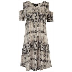 Lexington Avenue Womens Snake Skin Print Cold Shoulder Dress