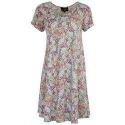 Lexington Avenue Womens Floral Short Sleeve Dress