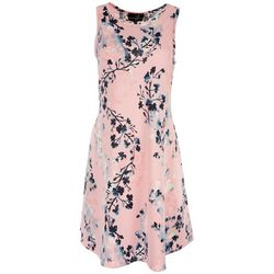 Lexington Avenue Womens Floral Print Sleeveless Dress