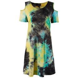 Womens Tie-Dye Cold Shoulder Dress