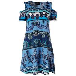 Womens Paisley Cold Shoulder Dress