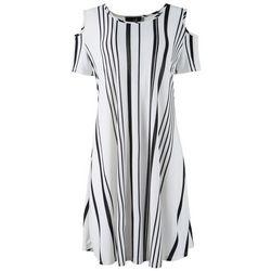 Lexington Avenue Womens Stripes Cold Shoulder Dress