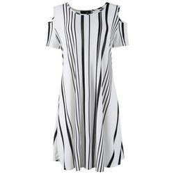 Womens Stripes Cold Shoulder Dress