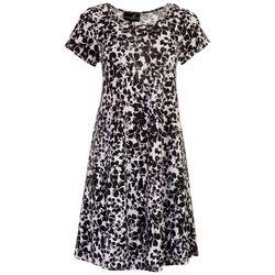 Lexington Avenue Womens Black Floral Swing Dress