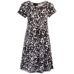 Womens Black Floral Swing Dress