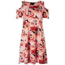 Lexington Avenue Womens Floral Cold Shoulder Dress
