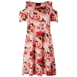 Womens Floral Cold Shoulder Dress