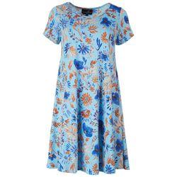 Lexington Avenue Womens Blue Floral Dress