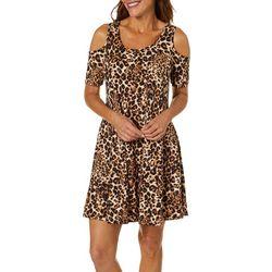 Lexington Avenue Womens Leopard Print Cold Shoulder Sundress