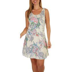 Lexington Avenue Womens Tropical Sleeveless Swing Dress