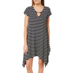 French Atmosphere Womens Striped Keyhole T-Shirt Dress