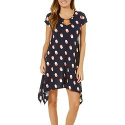French Atmosphere Womens Dotted Keyhole T-Shirt Dress