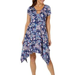 French Atmosphere Womens Floral Paisley Ring Neck Sundress