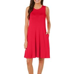 Cupio Womens Solid Pocket Sleeveless Swing Dress