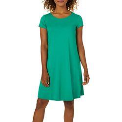 Cupio Womens Solid Short Sleeve T-Shirt Swing Dress