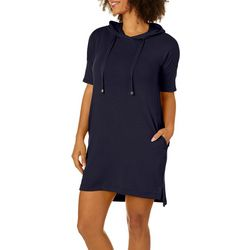 CG Sport Womens Solid Terry Hooded T-Shirt Dress