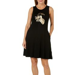 Cupio Womens Foil Toucan Sleeveless Pocket Sundress