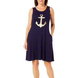 Cupio Womens Foil Anchor Sleeveless Pocket Sundress