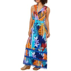 Spense Womens Palm Print V-Neck Maxi Dress