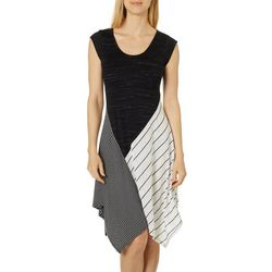 Spense Womens Colorblock Striped Handkerchief Hem Dress