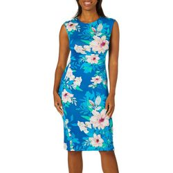 Spense Womens Blooming Floral Ruched Sheath Dress