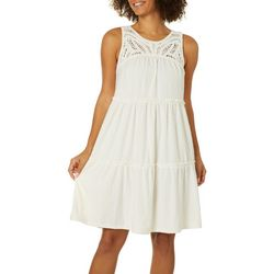 Spense Womens Crochet Clip Dot Ruffled Sleeveless Dress