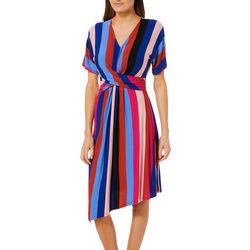 Spense Womens Striped Asymmetrical Faux-Wrap Dress