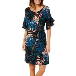 Spense Womens Tropical Floral Ruffle Sleeve Dress