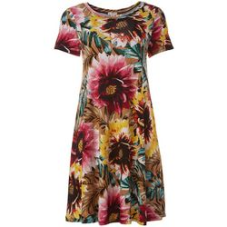 Spense Womens Short Sleeve Floral T-shirt Dress