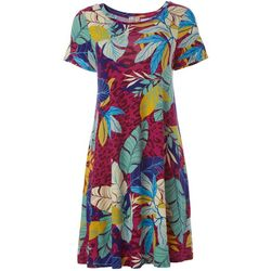 Spense Womens Short Sleeve Tropical T-shirt Dress