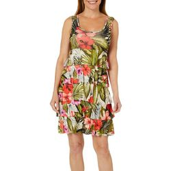 Spense Womens Tropical Floral Tiered Ruffle Sundress