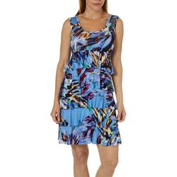 Spense Womens Paint Print Ruffled Sundress