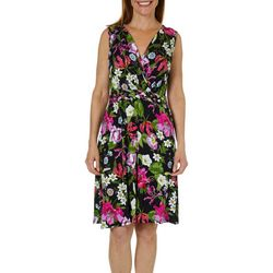 Spense Womens Floral Print Braided Waist Sundress