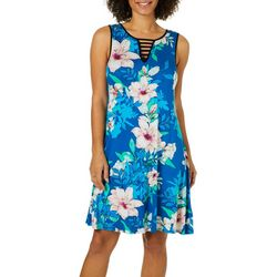 Spense Womens Floral Tropical Ladder Neck Sundress