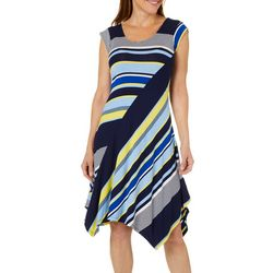 Spense Womens Mixed Stripe Handkerchief Hem Dress