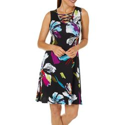 Spense Womens Graphic Floral Lattice Neck Sleeveless Dress