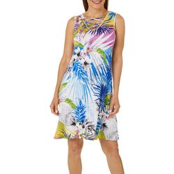 Spense Womens Floral Print Lattice Neck Sleeveless Dress