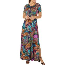Spense Womens Paisley Print Short Sleeve T-shirt Maxi Dress