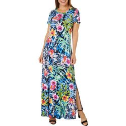 Spense Womens Floral Print Short Sleeve T-shirt Maxi Dress