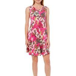 Cupio Womens Tropical Floral Sleeveless Swing Dress